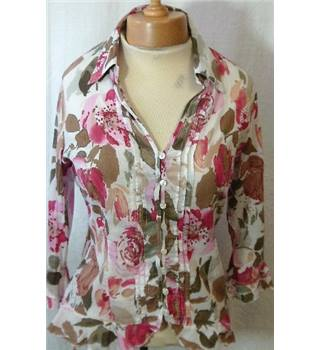 Per Una - Size 10 - White with rose/brown petal water-colour effect blouse