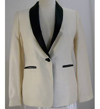 L K Bennett - Size: 10 - Ivory - Black Ribbon Jacket