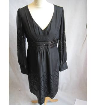Monsoon size 12 black with sequins and sheer sleeves dress