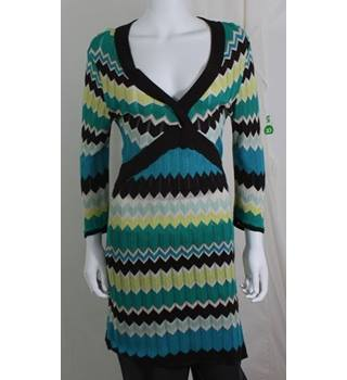 Debenhams- Size 12- Brown, Green and Blue Zigzag Striped Dress