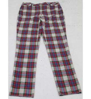 Land's End Size: 12 white with red, blue, green, yellow and black checked cropped trousers