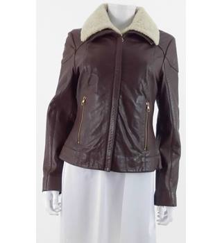 Ted Baker Size 12 Leather Jacket with Shearling Trim