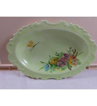 Green hand-painted vintage dish signed A. Hartley