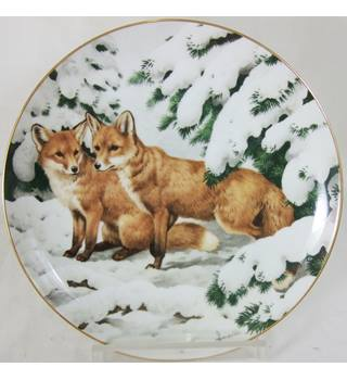 John Francis - The Forest Year Plate - Foxes among the December Pines