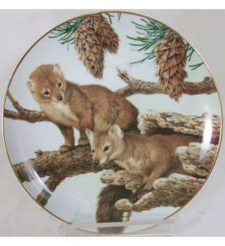 John Francis - The Forest Year Plate - Pine Martens on a February Perch