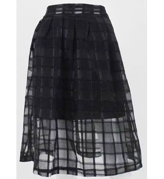 Blue Vanilla Black Semi sheer Knee-Length Skirt with Shorter Lining Size XS