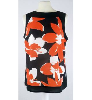 Roman Size 10 Black Orange & White Abstract Floral Sleeveless Top