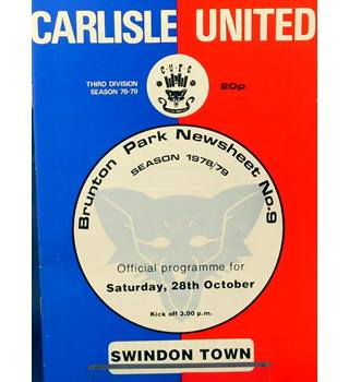 Carlisle United v Swindon Town - Division 3 - 28th October 1978