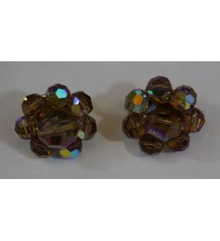 Brown multi colour glass beaded clip on earrings Unbranded - Metallics