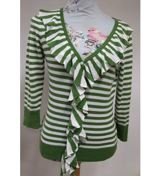 Laura Ashley - Size: 12 - White & Green Long Sleeved Jumper