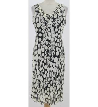 Wallis: Size 10: Black & cream large spot day dress