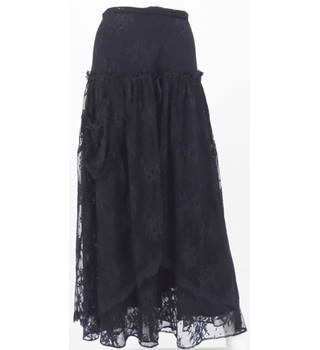 BNWT ESSENTIEL Black Lace Calf-Length Skirt UK Size 10 / Euro Size 38