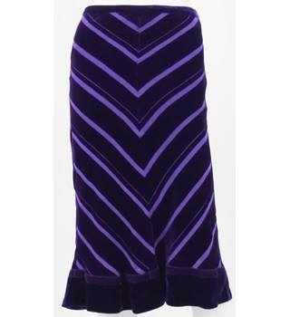 Whistles Purple Velvet Calf-Length Skirt UK Size 8