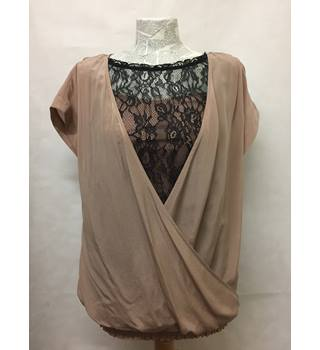 Ted Baker, size 6 blush pink cross over top with lace insert.