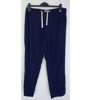 "M & S Size: M, 34"" waist, 29"" inside leg Dark Navy Blue Casual Viscose & Linen Blend Pants/Trousers With Draw Cord Waist"