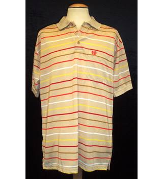 BNWT B 12 Size XL  Horizontally striped beige Polo shirt with short sleeves
