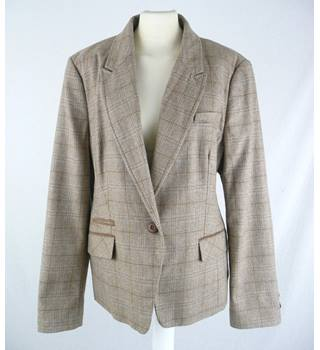Next - Size: 18 - Beige Plaid - Wool Jacket