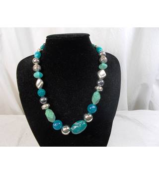 "blue mix beads 19"" necklace"