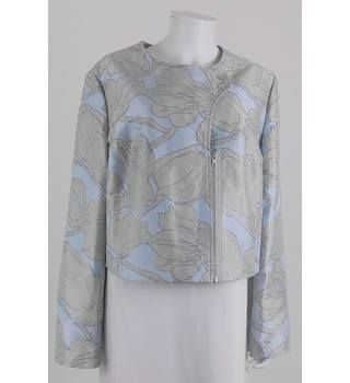 BNWT ASOS Size 20 Floral Short Jacket In Soft Blue, Green And Metallic