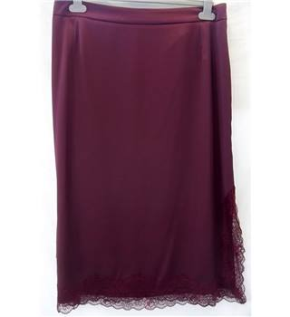 M&S Collection  - Size 16 - Burgundy with lace hem skirt