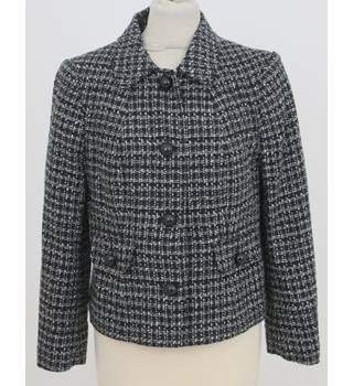 M&Co Petite Size 14  Grey with black and white checker pattern jacket