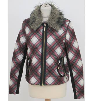 River Island Size 12 White, red, black and yellow checker pattern with faux fur collar jacket
