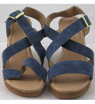 NWOT M&S Collection, size 5.5 blue suede platform wedge sandals