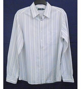 M&S white and grey striped shirt Size L