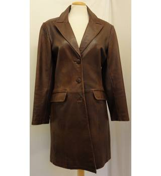 VALI - Size: 12 - Brown Leather Coat/Jacket