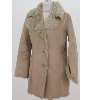 Wallis - Size: S - Beige -Coat with faux fur lining