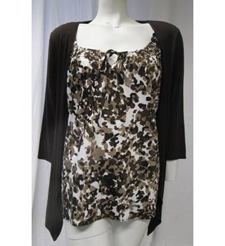 Viscose Combination Top by Soon Size 18 Soon - Size: 18 - Brown