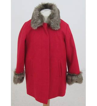 NWOT M&S Kids, age 6-7 years red wool mix coat with faux fur trim