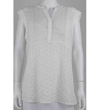 M&S Marks & Spencer Per Una Size 16 Cream Ivory Embroidered Blouse Top