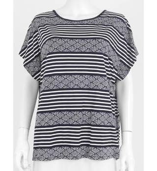 M&S Marks & Spencer Per Una Size 20 Navy Mix Striped T-Shirt