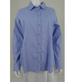 M&S Collection Size 16 Star Spotted Oxford Blue Shirt