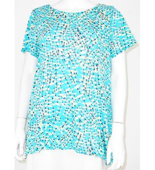 M&S Marks & Spencer Per Una Size 10 Blue Green Mix T-Shirt