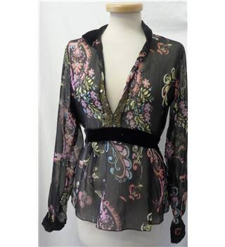 Calliope - Size M - Black with pink and yellow floral pattern and front tie top