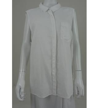 M&S Collection Size 22 Linen Mix White Blouse