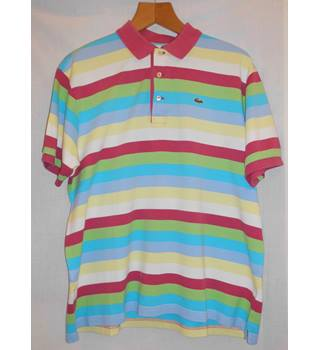 Lacoste size XXL Horizontal Rainbow Striped Short Sleeved T-shirt