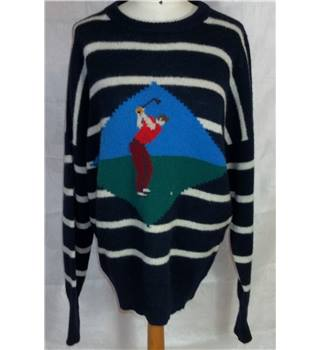 Vintage Corgi size XXXL navy with cream stripes and golfing image jumper.