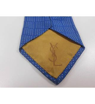 Yves Saint Laurent Blue and Gold Silk Tie