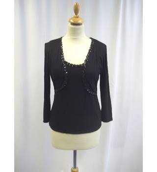 East - Size: 10 - Black - Sequinned - Layer Effect top
