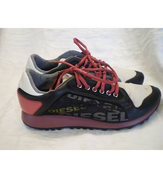 Diesel, size 7/41 black, red & cream trainers