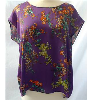 BNWT Phase Eight - Size: 16 - Purple with Orange and Green Floral Blouse