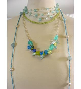 Selection of Pendants and Necklaces in shades of Green and Turquoise
