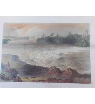 Engraving of Long Sault Rapid (St Lawrence) by W.H.Bartlett c1840