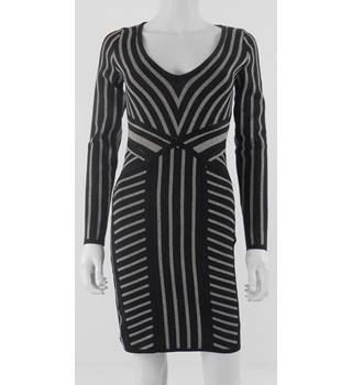 Wow Couture Size S Black with Glitzy Silver Stripes Knee Length Dress