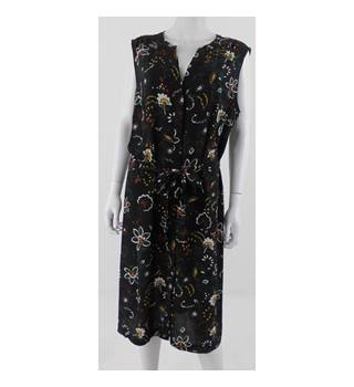 Per Una Size 22 Black with Green and Brown Floral Long Dress