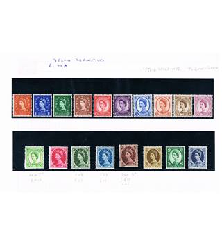 18 Stamps 1952-1954 Dorothy Wilding Definitives, Tudor Crown Multi-coloured