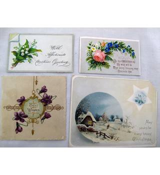 Four Old Christmas Greeting Cards and Scraps